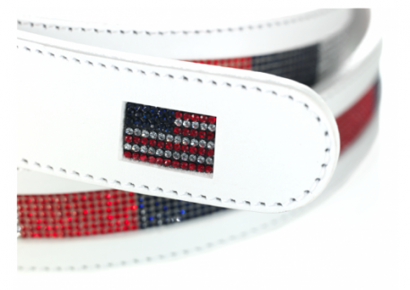 See the rest of the USA collection in the image gallery on this page.. USA flag Belt with Swarovski stripes – White Leather  This belt is crafted from hand-tooled leather with intricately detailed ornaments using Swarovski rhinestones.