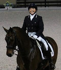 Shelly Francis placed second with Doktor in the Grand Prix Freestyle in Lingen, Germany 2013 Photo: Betsy LaBelle