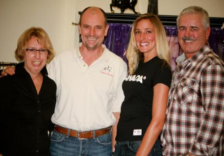 Left to right: Michele Hundt from ShowChic, Olympian Lars Petersen, Krystalanne Shingler of ShowChic and Olympian Bent Jensen