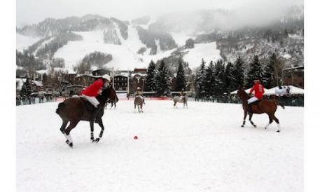 A breath-taking view of the Piaget World Snow Polo Championship.