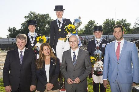 Greek riders scooped all three medals in the Senior Individual category at the FEI Balkan Dressage Championships 2014 in Novi Sad, Serbia last weekend. Pictured on the podium (L to R): Katerina Los (silver), Eleni Myrat (gold) and Angela Sklavounos (bronze). (Photo: (c) Alexis Vassilopoulos/FEI)