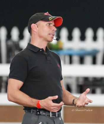 Steffen Peters explains many things at the Global Dressage Forum NA  Photo: www.sharonpacker.com