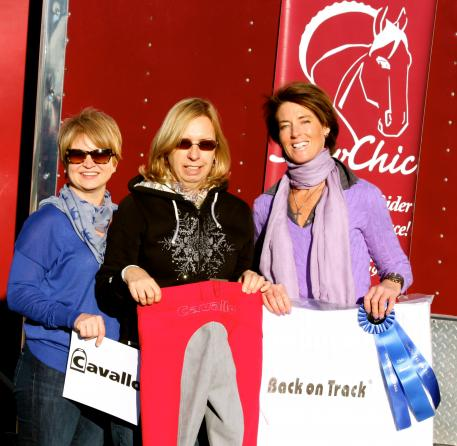 From left to right, Terri Kane of Diamante Farms, Michele Hundt of ShowChic, and Gabriella Stumpf