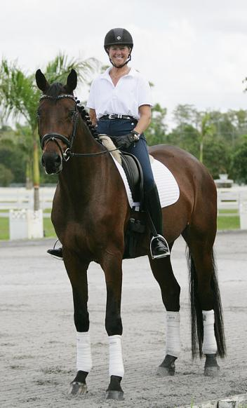 Susan Jaccoma rides Darwin, a KWPN (Santano x Flemmingh) 5 year old, owned by Kim Jackson in Loxahatchee, Florida Photo: Betsy LaBelle