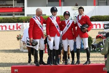 The Swiss team won the third leg of the Furusiyaa FEI Nations Cup™ Jumping 2013 series at Linz, Austria today. Pictured left to right - Pascal Bettschen, Christina Liebherr, Claudia Gisler and Theo Muff. Photo: FEI/Krisztian Buthi.