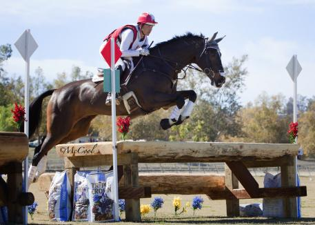 Tammy Smith on Fleur De Lis, leaders of the CCI1* at the Galway Downs International Three-Day Event. (Amy McCool photo)