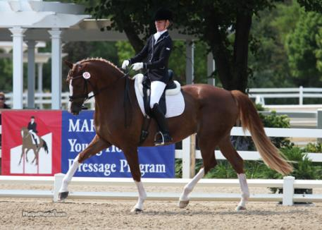 Alice Tarjan and Elfenfeuer (Florencio I-Elfensonne by Sion) win the Markel/USEF National Young Horse Preliminay test with a 7.66 Photo: Mary Phelps - phelpsphotos.com