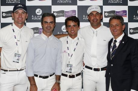 The Brazilian team topped the opening round of the Furusiyya FEI Nations Cup™ Jumping Final 2013 at the Real Club de Polo in Barcelona, Spain today.  Pictured (L to R) Eduardo Menezes, Rodrigo Pessoa, Marlon Zanotelli, Alvaro de Miranda Neto and Chef d'Equipe Jean-Maurice Bonneau.  Photo: FEI/Tomas Holcbecher.
