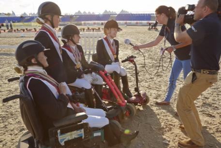 TeamGB being interviewed by FEI TV after winning three gold medals in the individual and team competition on day four of the JYSK FEI European Para-Dressage Championships in Herning (DEN) today. (Photo: Liz Gregg/FEI)