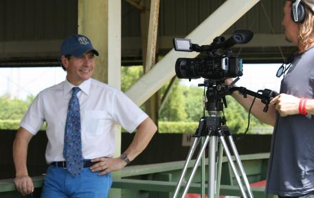 Cesar Torrente during the Ride-a-Test clinic at IDA Farm being filmed by DressageTrainingOnline.