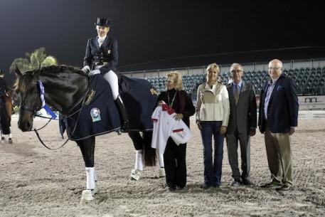 Tina Konyot and Calecto V in their presentation with Joan Mack and Kim Boyer of USPRE Association, judge Gary Rockwell, and Michael Stone, President of Equestrian Sport Productions. Photo: SusanJStickle.com