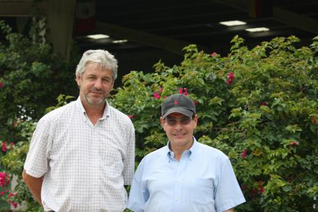 Cesar Torrente (right) and Patrick Burssens of IDA Farm.