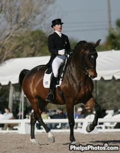 Belinda Trussell of Newmarket, ON and Anton earn a personal best score of 70.708% at the Palm Beach Dressage Derbt