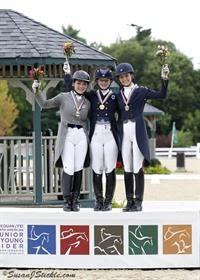 Young Rider Freestyle medalists (form left) Devon Wycoff, Catherine Chamberlain, and Laurence Blais Tetreault (Photo: SusanJStickle.com)