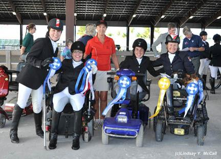The Canadian Para-Equestrian Team, comprised of Ashley Gowanlock, Jody Schloss, chef d'équipe Elizabeth Quigg, Robyn Andrews and Lauren Barwick, won the overall team competition at Adequan Global Dressage Festival 10 CPEDI3*. (Photos: Lindsay McCall)