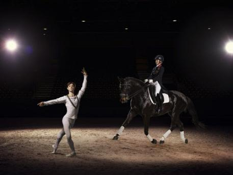 Olympic and European Dressage champion Charlotte Dujardin OBE demonstrates the grace and harmony of her sport, alongside Kanstantsin Geronik from the Minsk Bolshoi ballet, ahead of the Reem Acra FEI World Cup™ Dressage Final in Lyon, France (17-21 April). (Photo: (c) FEI/Hamish Brown)