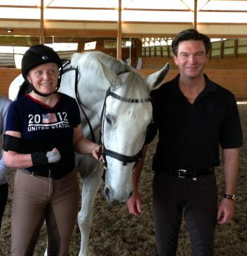 Para-Equestrian Lara Oles with Gil Merrick of HorseShow.com. (Photo: courtesy of Anne Margaret Meyers)