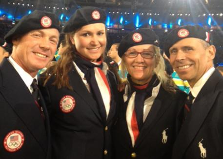 USA Dressage team at the opening ceremonies: Jan Ebeling, Adrienne Lyle, Tina Konyot, Steffen Peters. Photo: courtesy of Amy Ebeling
