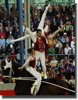 Members of the silver medal US Vaulting team at the 2006 FEI World Equestrian Games in Germany, Megan Benjamin, Devon Maitozo and Rosalind Ross . Photo Credit: Bob Langrish