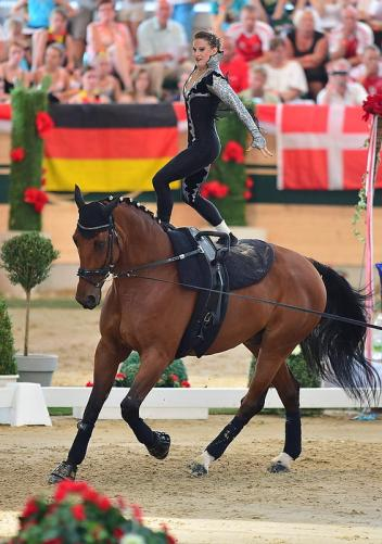 Rikke Laumann (DEN), female Senior Individual gold medalist at the FEI European Championships 2013, is pictured here on Ghost Alfarvad Z lunged by Lasse Kristensen in the Magna Racino arena. (Photo: Daniel Kaiser/FEI)