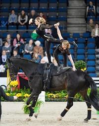 Sister Act - American sisters Cassidy and Kimberly Palmer secured a pas-de-deux victory at the FEI World Cup™ Vaulting 2013/2014 leg at the Stuttgart German Masters. (Karl-Heinz Frieler/FEI)