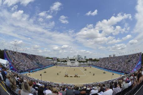 The fabulous London 2012 Olympic equestrian venue at Greenwich Park where Grand Prix Dressage takes centre stage tomorrow.  (Photo: FEI/Kit Houghton)