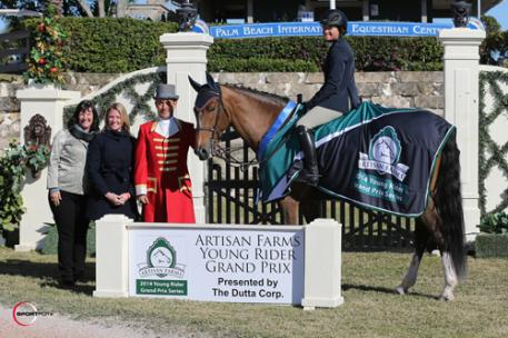 Victoria Colvin and Don Juan in their winning presentation with ringmaster Gustavo Murcia, Artisan Farms' Carlene Ziegler, and Liz Davoll representing the Dutta Corp. Photos © Sportfot, An Official Photographer of the FTI Consulting Winter Equestrian Festival, us.sportfot.com.