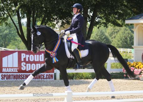 Wakeup and Emily Wagner stormed to victory in the Markel/USEF Developing Horse Dressage National Championship Presented by HorseShow.com  Photo: Mary Phelps