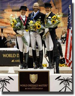 Tinne Vilhelmsson Silfven, Steffen Peters, and Tina Konyot, triumphant last year at World Dressage Masters Palm Beach. (Photo: Susan J. Stickle)