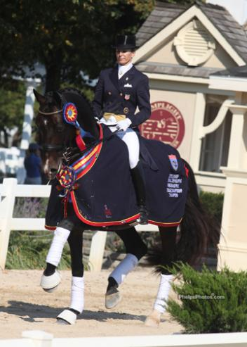 Lisa Wilcox and Horses Unlimited's stallion Pikko del Cerro HU (Pik L- Rohweena by Rohdiamant) clinched the championship title of the inaugural USEF Developing grand Prix Championship supported by Hilda Gurney and Carol Lavell
