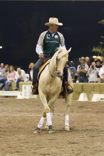 International Show Jumper Will Simpson takes a spin on a reining horse. (Photo: SusanJStickle.com)
