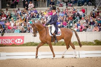 William Fox-Pitt (GBR) and Chilli Morning now in the lead at the Rolex Kentucky Three-Day Event (USA), third leg of the 2012/2013 HSBC FEI Classics™, after setting the competition alight on Dressage Day 2. (Photo: Anthony Trollope/FEI).