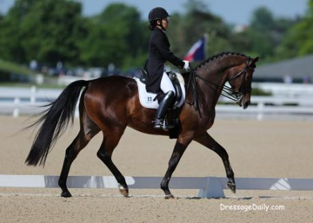 Taylor Yamamoto from Hawaii and working student for Adrienne Lyle debuts at the FEI Young Rider Team Teast and wins. Photo: Mary Phelps