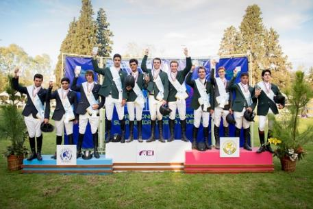 The medal-winning Young Riders teams on the podium at the FEI South America Young Rider Jumping Championship and FEI Americas Jumping Championships for Children, Pre-Juniors and Juniors 2013 in Rosario, Argentina: (L to R); bronze medallists from Argentina, Matias Dominino, Manuel Boragina Cerda, Nicolas Franchi:gold medal winning Brazil A team, Guilherme Dutra Foroni, Antonio Pedro Costa, Victor Mariano Luminatti, Joao Pedro Lambertucci and silver medallists Brazil V team, Kitaro Baldaia Bemfic