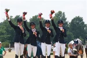 Eventing CCI2* Team Gold medalists, Area 3: Caroline Martin, Jennifer Caras, Matilda Segal, and Mary Atkins Hunt (Brant Gamma Photos)