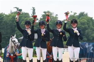 Eventing CCI1* Team Gold medalists, Area III: Nicole Doolittle, Victoria Clayton, Ashley Dodds, Diane Portwood (Brant Gamma Photos)