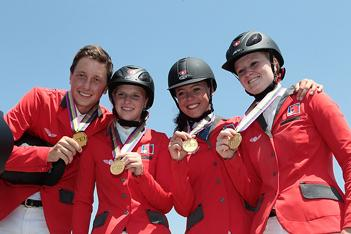 The Swiss team of Martin Fuchs, Emilie Stempfli, Annina Zuger and Chantal Muller clinched Young Riders Team Gold at the FEI European Jumping Championships for Children, Juniors and Young Riders 2013 at Vejar de la Frontera (ESP).  Photo: FEI/Moisés Basallote.