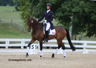 The lanky elegance of David Zeigler preparing for his event dressage test on Critical Decision. Photo: Mary Phelps