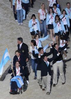 Reese Stanfield in the opening ceremonies of the 2010 Alltech/FEI World Equestrian Games with the Argentinian team. Reese coached Eventing rider Jose Ortelli Jr. representing Argentina. Photo: © Mary Phelps