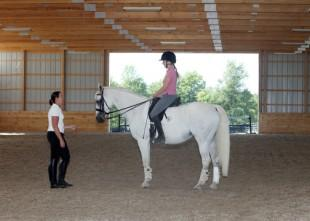 Reese coaches in her newly constructed state of the art indoor arena at Maplecrest Farm near the Kentucky Horse Park . Photo: © Mary Phelps