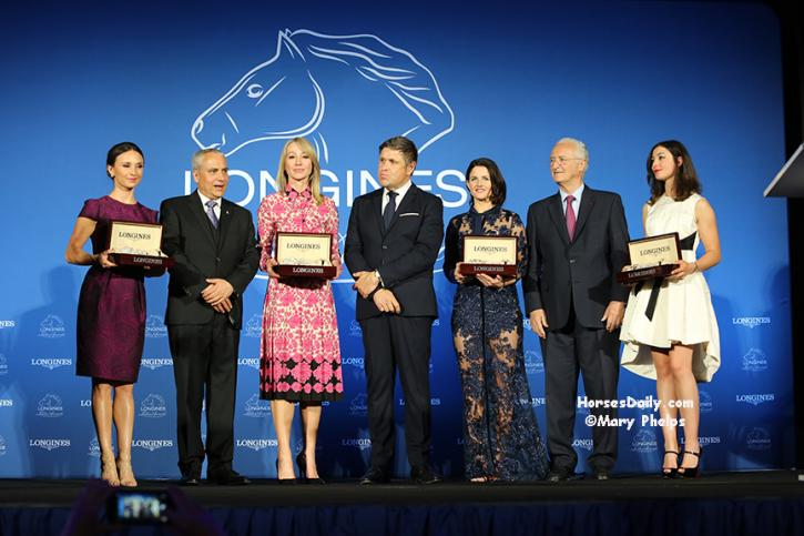 Georgina Bloomberg, FEI President Ingmar de Vos, Belinda Stronach, Carlos Capelli, Vice President of Longines, Michelle Payne,Louis Romanet, Chairman of the International Federation of Horseracing Authorities (IFHA), and Reed Kessler. ©Mary Phelps