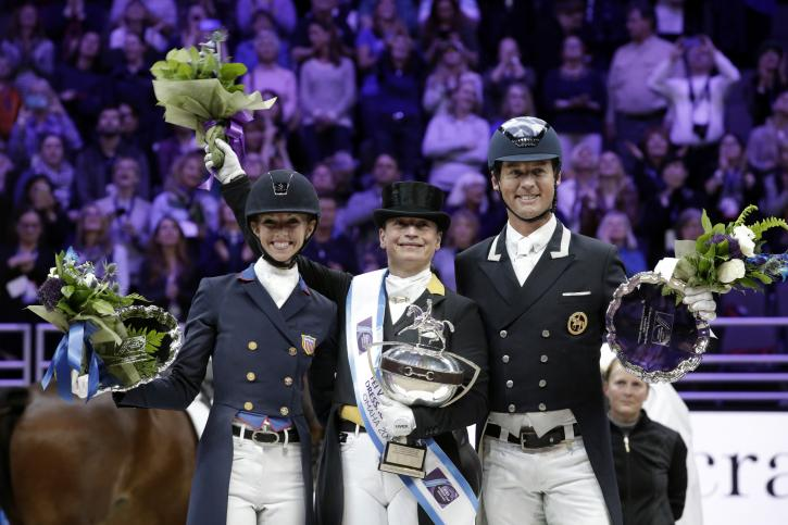 Isabell Werth (GER) wins the The FEI World Cup™Dressage Final ll, Grand Prix Freestyle, April 1 2017. Laura Graves (USA) placed 2nd and Carl Hester finished 3rd. (Photo: Cara Grimshaw/FEI)