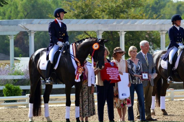 Timbach Farm's Allure S ridden by Angela Jackson<br />2014 Developing Prix St. George Reserve Champion<br />returns this year for the Developing Grand Prix.