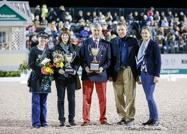 Janine Little and Shawneen Jacobs accepting the Horse of Course High Score Award at the Adequan Global Dressage Festival Awards Ceremony.  (Photo credit: Susan J. Stickle.)
