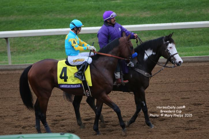 Victor Espinoza and American Pharoah readt ro start the last race of his career.<br />Photo: © Mary Phelps 2015