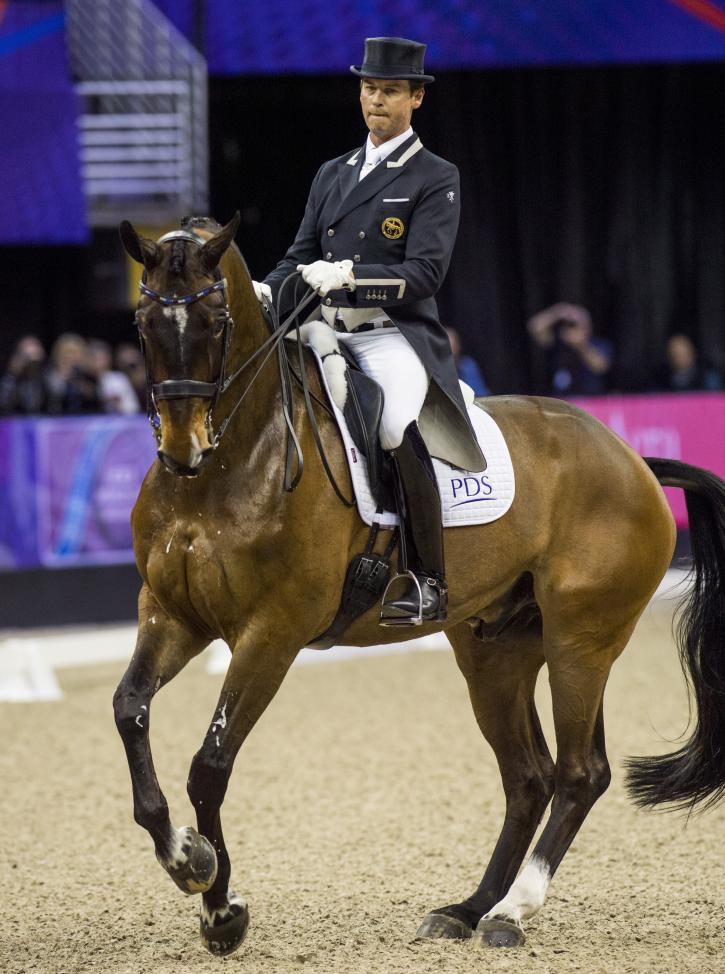 Carl Hester (GBR) rides Nip Tuck in The FEI World Cup™Dressage Final ll, Grand Prix Freestyle, April 1 2017  (Photo: Cara Grimshaw/FEI)