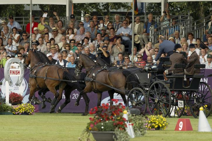 IJsbrand Chardon (NED) and his horses Bravour, Don Marcell, Eddy, Winston E<br />(Photo:FEI/Dirk Caremans)