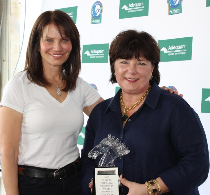 "Carol Cohen presented Elizabeth ""Betsy"" Juliano with the Global Dressage Visionary Award during week 10 of the Adequan Global Dressage Festival."