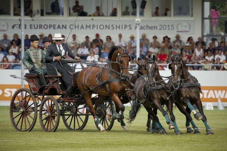 József Dobrovitz (HUN) and his team Amadeus, Carlo, Cassander T, Maestoso<br />(Photo:FEI/Dirk Caremans)