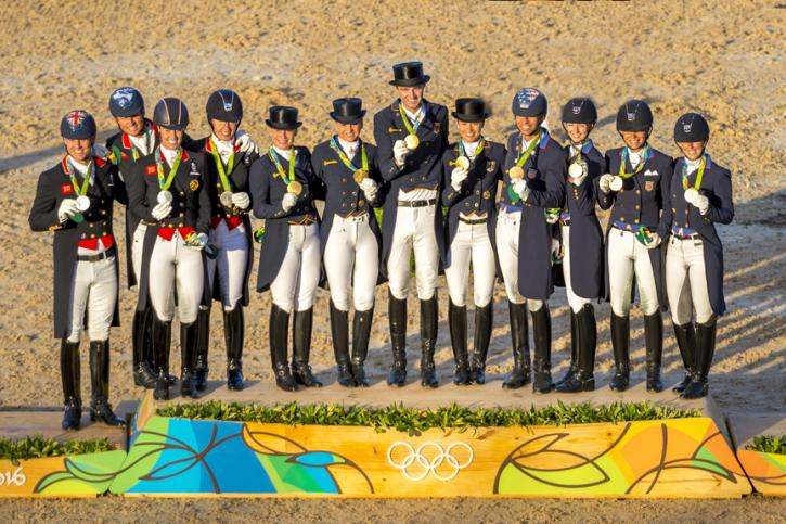 Dressage team medals presentations